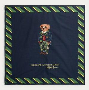 Ralph Lauren Preppy Blazer Camo Polo Bear Navy Cotton Handkerchief Bandanna