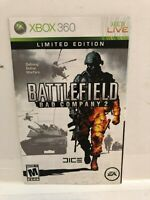 Battlefield Bad Company 2 Xbox 360 Replacement Manual Instruction Booklet Insert