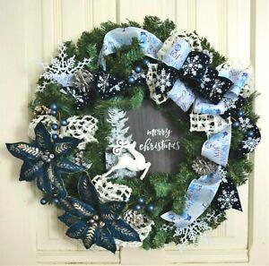 Handmade* Wintery Navy Wreath *Christmas *Winter*  Pine* Snowflakes* Poinsettias