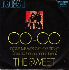 """7"""" the SWEET Co-Co / Done me wrong or right 45 SINGLE SPANISH PS 1971"""