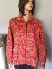 Alfred Dunner Jacket  Sz 14 Cotton Floral Brick Red Designer Fashion Jeans Style