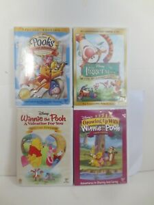 Lot of 4 Winnie the Pooh Disney DVDs Tigger Grand Adventure Valentine Growing Up
