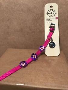 Bond & Co. Small Dog Collar Pink W/ Purple Daisy Flowers XXS 8-10 IN