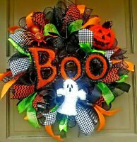 "24"" Halloween Wreath Deco Mesh Ghost Spider Jack-O-Lantern BOO Sign Door Decor"