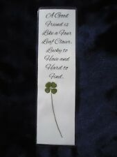 Real Genuine Four 4 Leaf Clover Laminated Lucky Charm Bookmark Shamrock (24)
