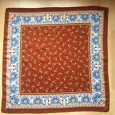 Jacqmar London Vintage Scarf Brown Blue Polyester Square.