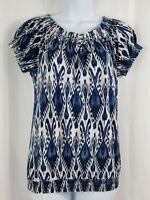 Chaps Denim Womens Shirt Size Medium Blue Top Cap Short Sleeve Round Neck