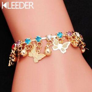 Cute Children Beautiful Butterfly Charm Bracelet For Girls Kids Hand Chain Gold
