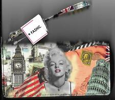 Marilyn Monroe with Famous Landmarks Collage Black Wallet NEW