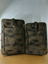 Lot 2 piece Travel Gear Luggage Set Palm Trees Carry on & Check Pre-owned (C)