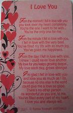 """Pocket Keepsake Messages """"I Love You"""" Wallet/ Purse Card/(Hearts-Black/Red)"""