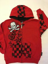 NWT BOYS RED SKULL HOODIE CROSSBONES GUITAR TOP HEAVY SIZE 5-6 RED CHECKERS