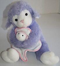 "EASTER LAMB 15"" Purple White  Plush Sheep Security Blanket Stuffed Soft Toy SKM"