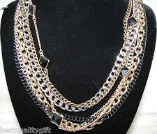 NEW GUESS SILVER+BRASS+GOLD+BLACK TONE MULTI CHAIN CRYSTAL ADJUSTABLE NECKLACE