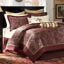Queen Cal King Bed Bag Burgundy Gold Paisley 12 pc Comforter Sheet Set Bedding