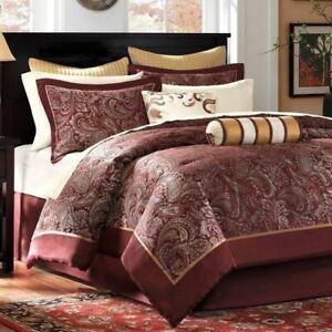 Queen Cal King Bed Bag Burgundy Gold Paisley 12 pc Comforter Sheet Set Bedding