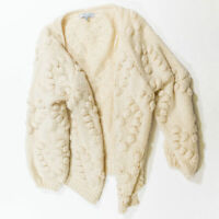 Favlux Women's Chunky Cable Pom Pom Knit Open Front Cardigan Sweater Small