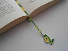 BEADED BOOK WORM CHARM PAGE KEEPER THONG BOOKMARK GREEN / YELLOW SEED BEADS