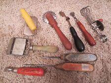 9 Vintage Antique Kitchen Utensils Tools, Wooden handles, Wisconsin Ice & Coal