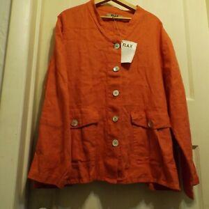 FLAX Womens Large Engelhart coral pink jacket long  linen
