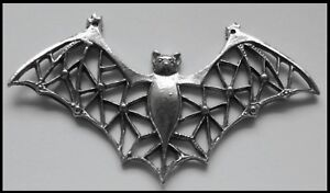 PEWTER CHARM #411 BAT filigree wings stunning 2 bails for necklace (75mm x 40mm)