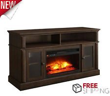 "TV Stand Media Fireplace Dark Brown 70"" Entertainment Console Electric Heater"