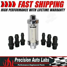 """Universal Fuel Filter Clear View Inline 1/4"""" 5/16"""" 3/8"""" Chrome Hose Barb Plated"""