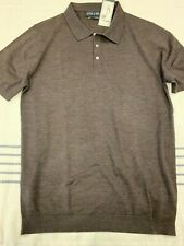 BNWT Stitch Note Merino Wool S/S Polo Sweater, Brown, Large