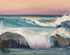 PACIFIC COAST THREE Original Expression Seascape Ocean Painting 8x10 021419 KEN