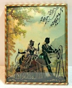Reverse Painted Couple Practicing Archery Silhouette Framed Convex Bubble Glass