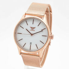 Designer STYLE Classic Round Marble Dial Wrist Watch Mesh Braclet Date Ny London