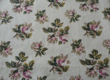 Vintage French or English Moss Roses Cotton Fabric ~ Rose Pink Olive Green