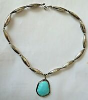 Vintage Sterling Silver Bench Bead Necklace Turquoise Pendant