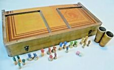 Vintage Game - Unrecognised Large Wooden Folding Box Jeu De Petits Chevaux