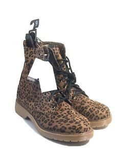 time and tru leopard print combat lug boots side zip sz 9 has tags 1408