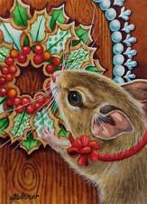 """ACEO LE Art Card Print 2.5/""""x3.5/"""" /"""" Wreath Decorating/"""" Holiday Art by Patricia"""