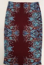 Rue21 Women's Small  Pencil Multi Pattern Skirt RN70829 Maroon and Blue