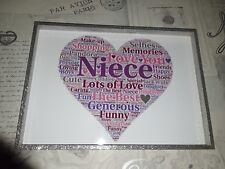 niece word art present christmas birthday keepsake gift