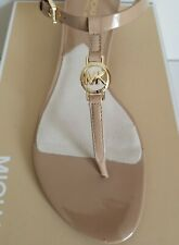 Michael KORS NORA NUDE PATENT MK GOLD LOGO WEDGE SANDALS US 9 9.5 I LOVE SHOES