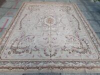 Old Hand Made French Design Wool Beige Brown Large Original Aubusson 295X233cm