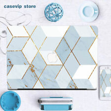 Small Fresh Blue Gold Marble Laptop Case For Macbook Pro Air 11 12 13 15 16 inch