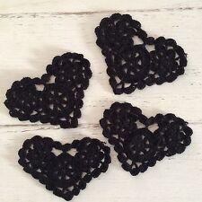 4 X NEW BLACK 11 CM HEART CROCHET LACE DOILIES/ EMBELLISHMENTS