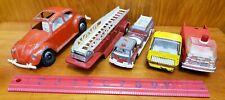 5 Vintage Toy Metal Fire Trucks Car Diecast Hubley Vw Bug Tonka Parts & Repairs