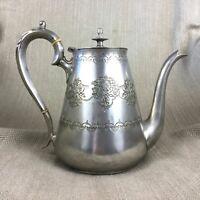 Antik Teekanne Viktorianisch Silber Platte Verzierte Gravierte Dekoration Groß
