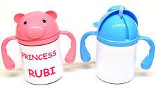 Personalised Childs 2 handle white drinks mug & Baby Bib Pink or Blue trim