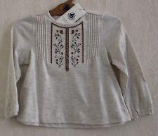 Neuf : Tee-shirt blouse PETIT BATEAU 4 ans coton gris clair brodée pour fille