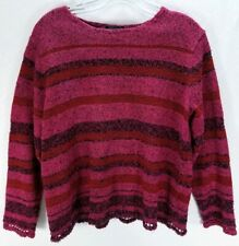 Sigrid Olsen Sport Sweater Size 1X Women's Pink Red Textured Long Sleeve Stripe