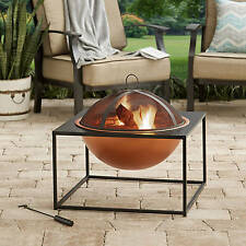 "New 26"" Square Fire Pit with Copper Finish Bowl Backyard Modern Wood"