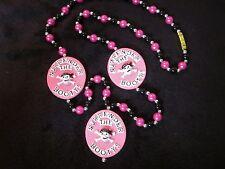 """Surrender the Booty"" Pirate Skull Bones Pink Mardi Gras Gasparilla Bead (B472)"