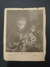 "1600s Paulus Pontius engraving after Rubens ""Old Woman and a Boy With Candles"""